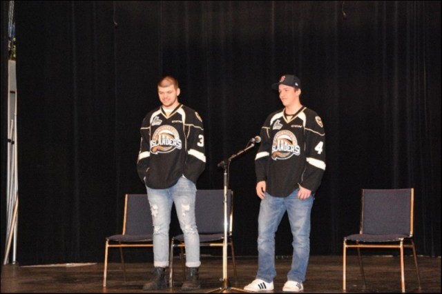 Charlottetown Islanders Players Noah Massie & Brendon Clavelle at Ecole-sur-Mer doing Anti-bullying talks to grades 4 – 11.