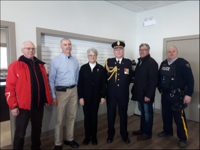 Mayor of Souris Steve O'Brien, Coordinator Scott Lundrigan, Her Honour The Lt. Govenor of Prince Edward Island, Antoinette Perry, Aide-de-Camp Ken Campbell,  Colin Lavie MLA Souris / Elmira and Cst Les Dill of Souris Detachment at a Family Violence March in Souris Legion on Tuesday the 13th of February 2018.