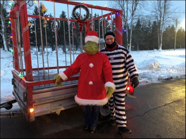 Board Members (L-R) Cindy MacDougall and Don Reid, prepping for the Kensington Christmas Parade on the 2nd of December 2018.  The lights, Grinchy Music and our two Board members were a hit with children and adults alike.