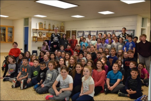 L-R  Isaac Pelletier and Alexander Dersch with Grade 6 Students of Bloomfield Elementary speaking on Bullying, setting goals, hard work and perseverance.  January 28, 2019.