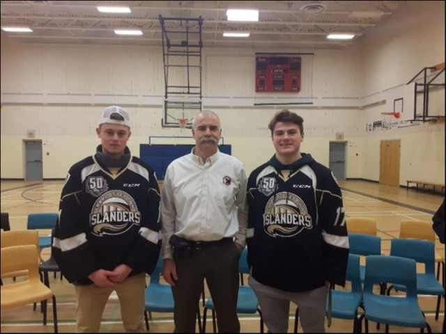 (L-R) Isaak Pelletier, PEI CS Provincial Coordinator Scott Lundrigan and Liam Peyton at Montague Intermediate prior to Anti Bullying Presentation to Grade 7s.   11th Feb 2019.