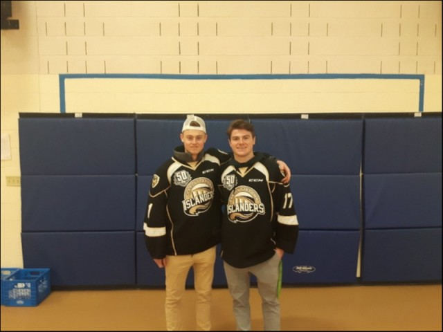 (L-R)  Isaak Pelletier and Liam Peyton of the Charlottetown Islanders Hockey Club prior to Anti-Bullying Campaign at Montague Intermediate Grade 7s.   11th Feb 2019.