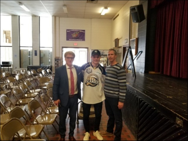(L-R)  Principal Windsor Wight, Thomas Casey and Counsellor Robbie McEntee at East Wiltshire Intermediate after Anti-Bullying presentation.