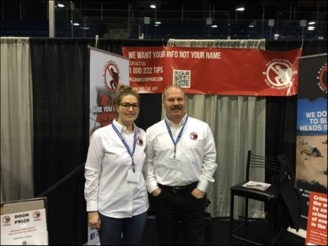 Board Members Katie Campbell and Mark Pharand tend our booth at the PEI On the Move Show at the Eastlink Center.  They chatted up the attendees, handed out promotional items and educated people on what it is Crime Stoppers does on PEI. The Leisure and Home Show runs from the 8th thru the 10th of March 2019.  Crime Stoppers PEI wishes to thank Master Promotions. For years they have  kindly donated this booth to Crime Stoppers to allow us to promote our program in the community.