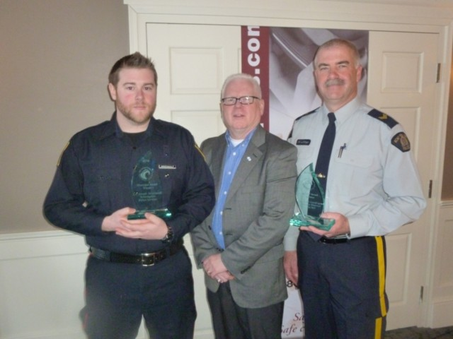 L to R: Cst. Joseph Arsenault, Crime Stoppers President Gary Bowness and Cpl. Scott Lundrigan